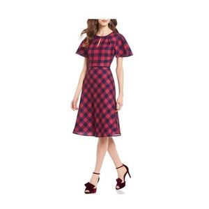 Draper James Buffalo Check flutter sleeve dress